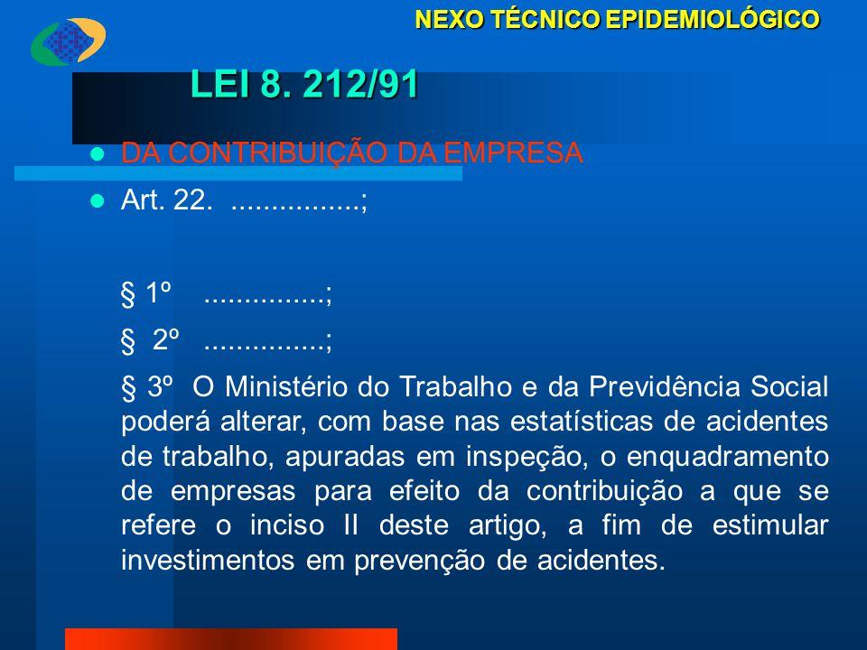 LEI 8. 212/91 DA CONTRIBUIÇÃO DA EMPRESA Art. 22.................; § 1º...............; § 2º...............; § 3º O Ministério do Trabalho e da Previd