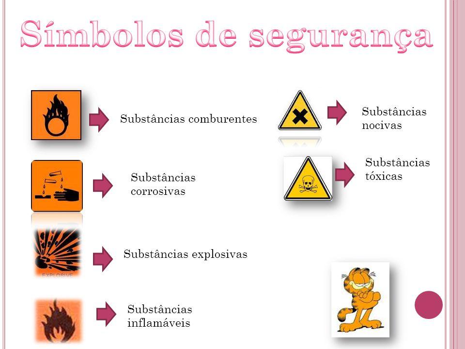 Substâncias comburentes Substâncias corrosivas Substâncias explosivas Substâncias inflamáveis Substâncias nocivas Substâncias tóxicas