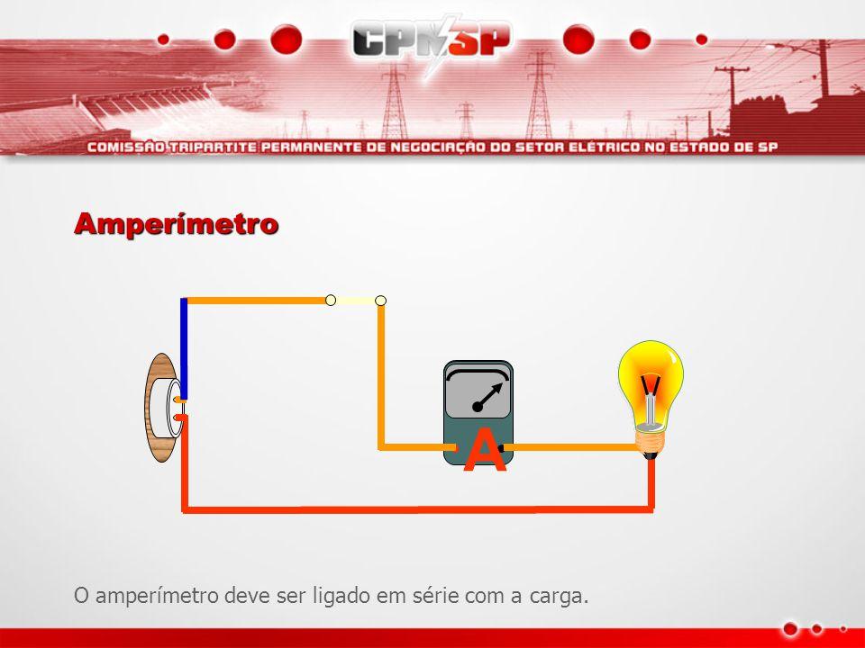 A Amperímetro O amperímetro deve ser ligado em série com a carga.