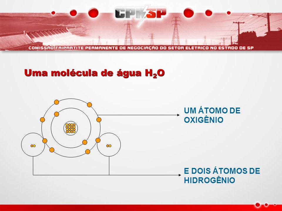 UM ÁTOMO DE OXIGÊNIO E DOIS ÁTOMOS DE HIDROGÊNIO Uma molécula de água H 2 O