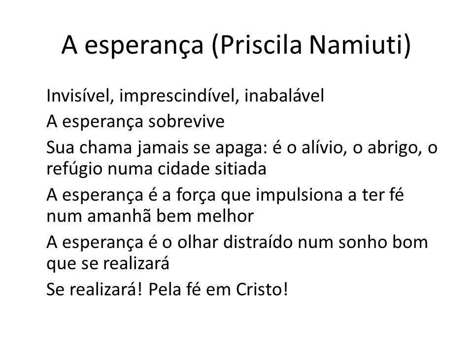 A esperança (Priscila Namiuti) Invisível, imprescindível, inabalável A esperança sobrevive Sua chama jamais se apaga: é o alívio, o abrigo, o refúgio