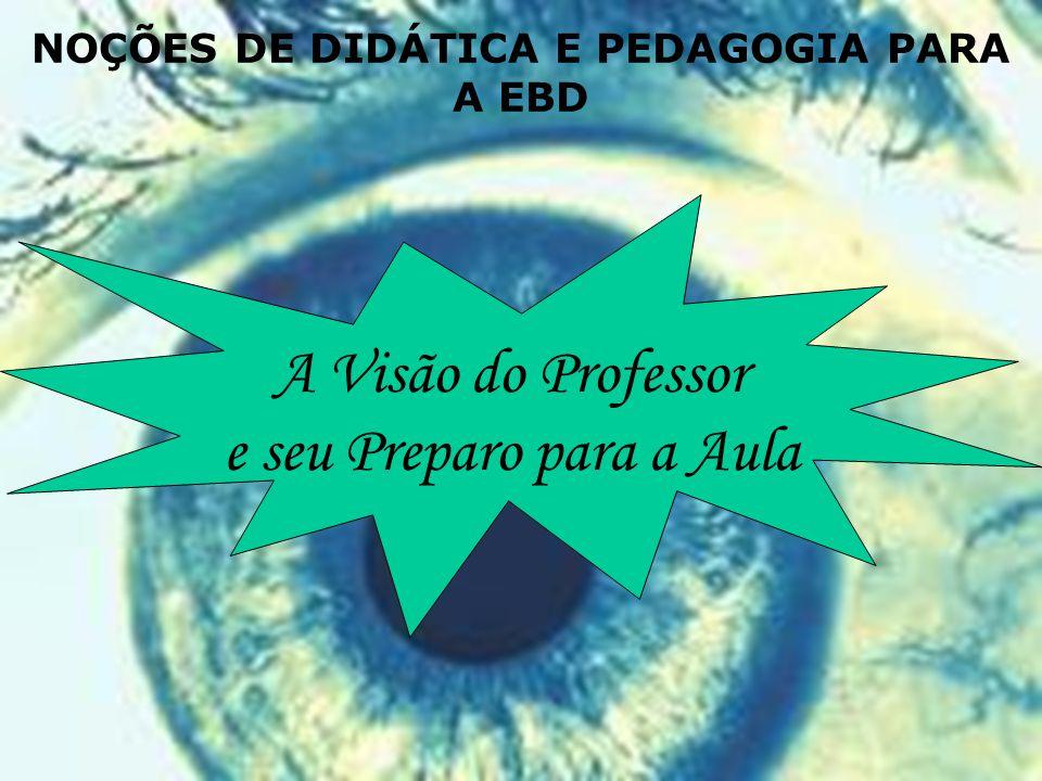 A Visão do Professor e seu Preparo para a Aula NOÇÕES DE DIDÁTICA E PEDAGOGIA PARA A EBD