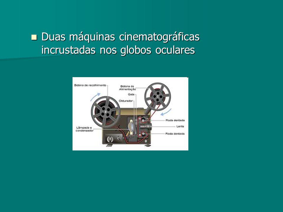 Duas máquinas cinematográficas incrustadas nos globos oculares Duas máquinas cinematográficas incrustadas nos globos oculares