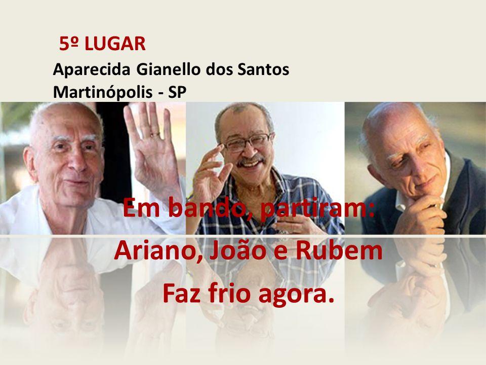 5º LUGAR Aparecida Gianello dos Santos Martinópolis - SP Em bando, partiram: Ariano, João e Rubem Faz frio agora.