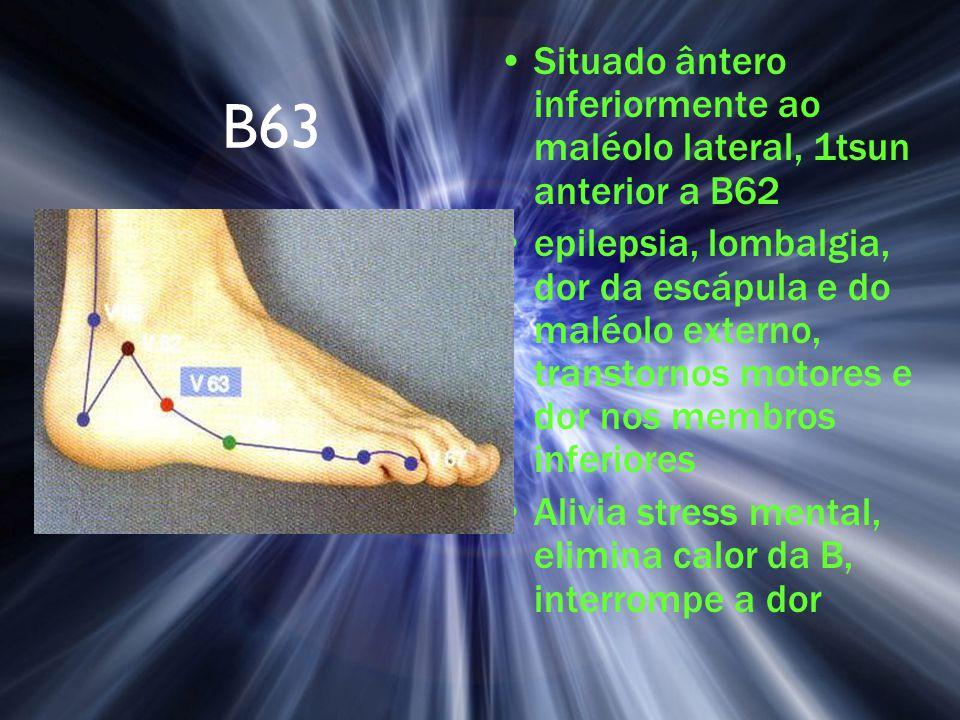 B63 Situado ântero inferiormente ao maléolo lateral, 1tsun anterior a B62 epilepsia, lombalgia, dor da escápula e do maléolo externo, transtornos moto