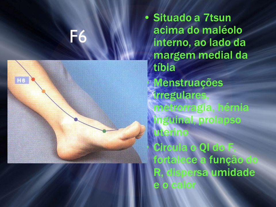 F6 Situado a 7tsun acima do maléolo interno, ao lado da margem medial da tíbia Menstruações irregulares, metrorragia, hérnia inguinal, prolapso uterin