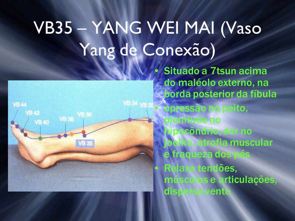 VB35 – YANG WEI MAI (Vaso Yang de Conexão) Situado a 7tsun acima do maléolo externo, na borda posterior da fíbula opressão no peito, plenitude no hipo