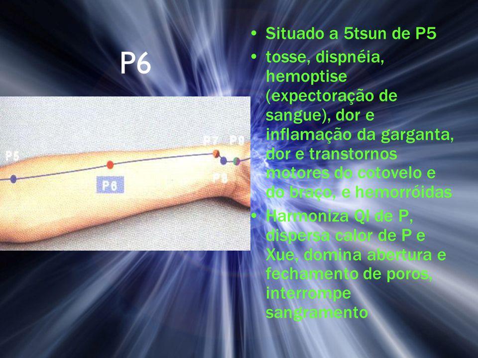 P6 Situado a 5tsun de P5 tosse, dispnéia, hemoptise (expectoração de sangue), dor e inflamação da garganta, dor e transtornos motores do cotovelo e do