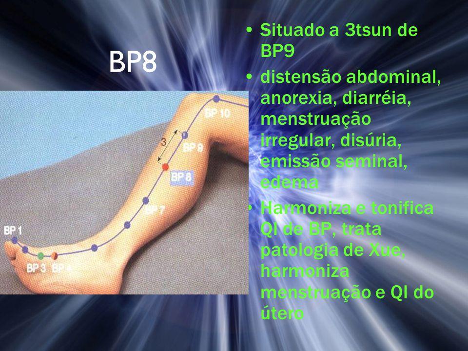 BP8 Situado a 3tsun de BP9 distensão abdominal, anorexia, diarréia, menstruação irregular, disúria, emissão seminal, edema Harmoniza e tonifica QI de