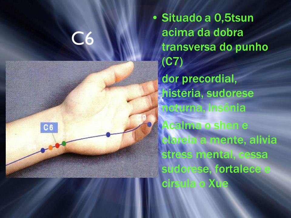 C6 Situado a 0,5tsun acima da dobra transversa do punho (C7) dor precordial, histeria, sudorese noturna, insônia Acalma o shen e clareia a mente, aliv