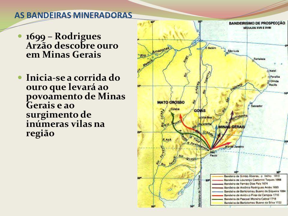 AS BANDEIRAS MINERADORAS 1699 – Rodrigues Arzão descobre ouro em Minas Gerais Inicia-se a corrida do ouro que levará ao povoamento de Minas Gerais e a