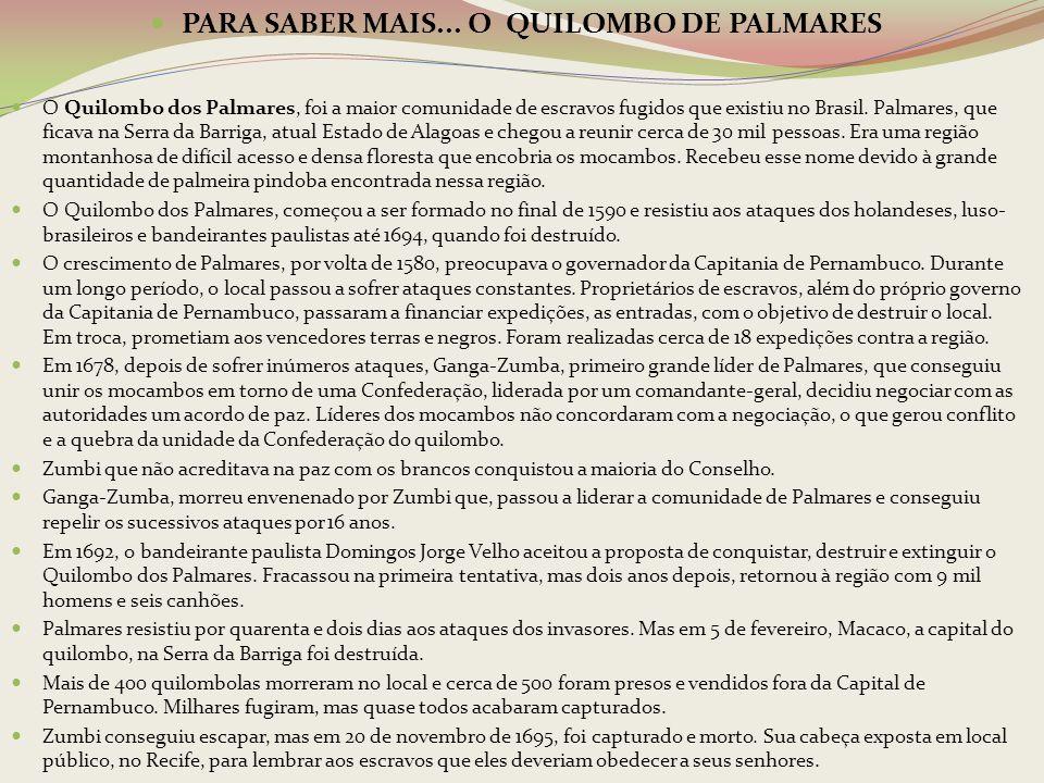 PARA SABER MAIS... O QUILOMBO DE PALMARES O Quilombo dos Palmares, foi a maior comunidade de escravos fugidos que existiu no Brasil. Palmares, que fic