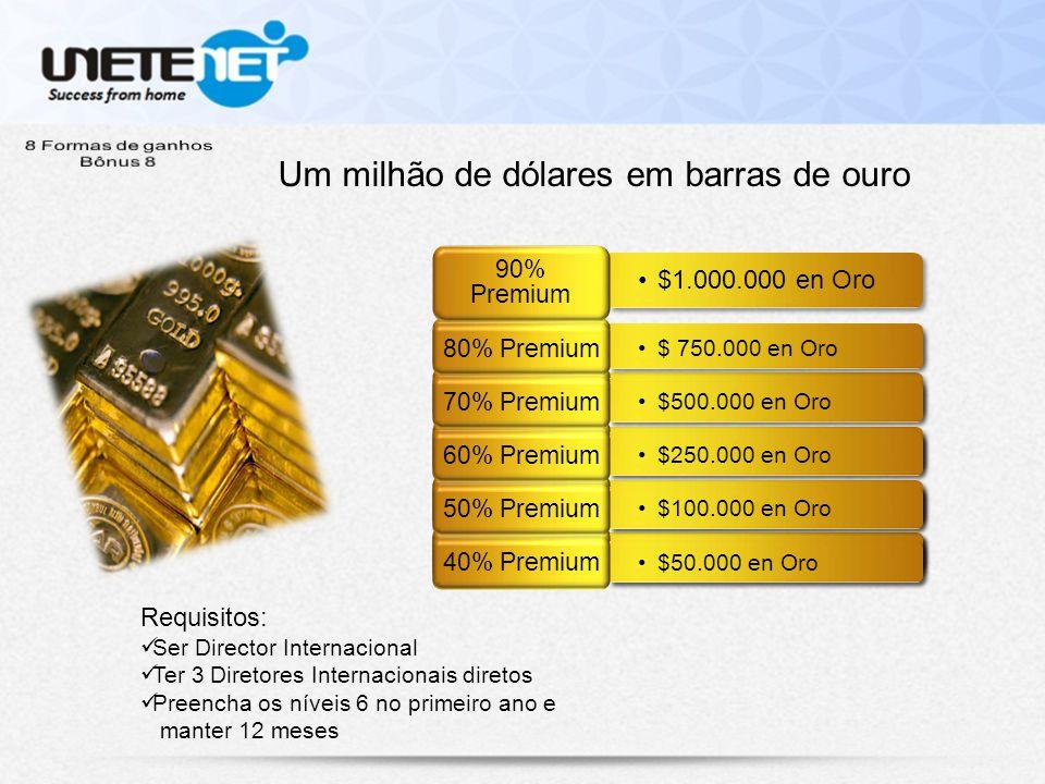 Um milhão de dólares em barras de ouro Requisitos: Ser Director Internacional Ter 3 Diretores Internacionais diretos Preencha os níveis 6 no primeiro ano e manter 12 meses $50.000 en Oro 40% Premium $100.000 en Oro 50% Premium $50.000 en Oro 40% Premium $250.000 en Oro 60% Premium $100.000 en Oro 50% Premium $50.000 en Oro 40% Premium $500.000 en Oro 70% Premium $250.000 en Oro 60% Premium $100.000 en Oro 50% Premium $50.000 en Oro 40% Premium $ 750.000 en Oro 80% Premium $500.000 en Oro 70% Premium $250.000 en Oro 60% Premium $100.000 en Oro 50% Premium $50.000 en Oro 40% Premium $1.000.000 en Oro 90% Premium $ 750.000 en Oro 80% Premium $500.000 en Oro 70% Premium $250.000 en Oro 60% Premium $100.000 en Oro 50% Premium $50.000 en Oro 40% Premium