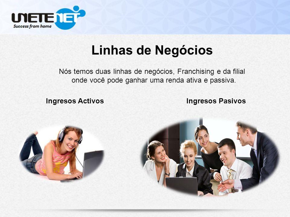 Linhas de Negócios Nós temos duas linhas de negócios, Franchising e da filial onde você pode ganhar uma renda ativa e passiva.