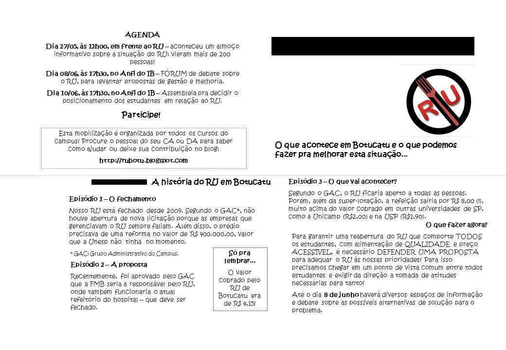 A história do RU em Botucatu Episódio 1 – O fechamento Nosso RU está fechado desde 2009.