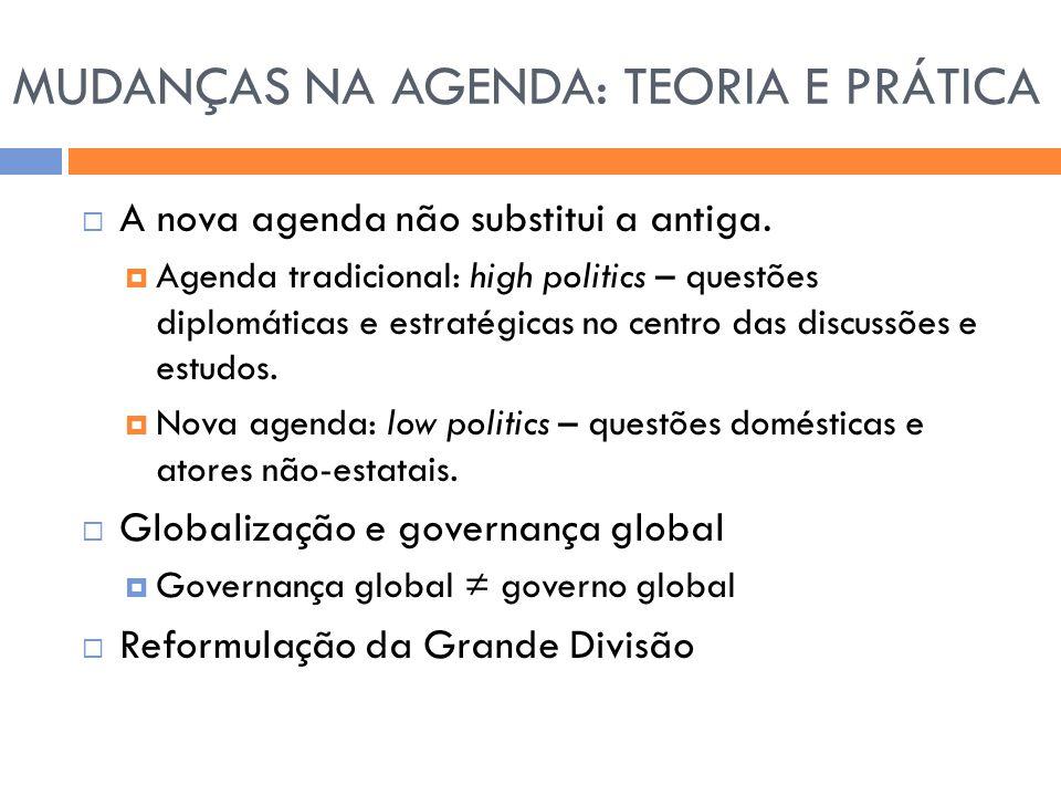 MUDANÇAS NA AGENDA: TEORIA E PRÁTICA  A nova agenda não substitui a antiga.  Agenda tradicional: high politics – questões diplomáticas e estratégica