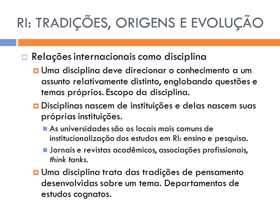 RI: TRADIÇÕES, ORIGENS E EVOLUÇÃO  Relações internacionais como disciplina  Uma disciplina deve direcionar o conhecimento a um assunto relativamente