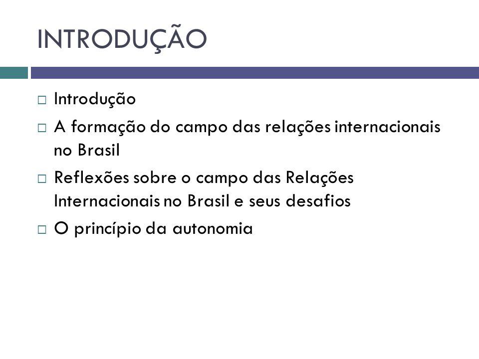 INTRODUÇÃO  Introdução  A formação do campo das relações internacionais no Brasil  Reflexões sobre o campo das Relações Internacionais no Brasil e seus desafios  O princípio da autonomia