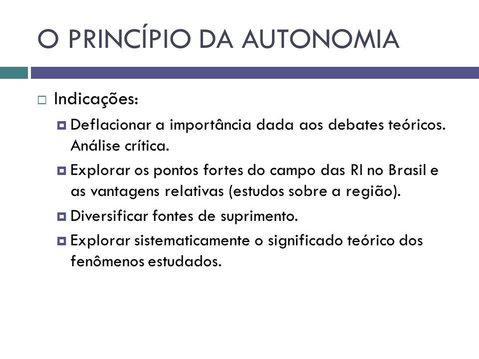 O PRINCÍPIO DA AUTONOMIA  Indicações:  Deflacionar a importância dada aos debates teóricos.