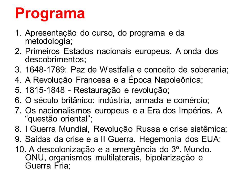 Programa 1.Apresentação do curso, do programa e da metodologia; 2.Primeiros Estados nacionais europeus. A onda dos descobrimentos; 3.1648-1789: Paz de