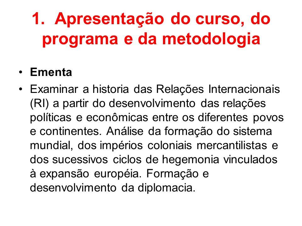 1. Apresentação do curso, do programa e da metodologia Ementa Examinar a historia das Relações Internacionais (RI) a partir do desenvolvimento das rel