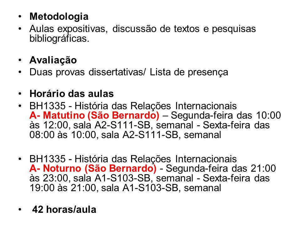 Metodologia Aulas expositivas, discussão de textos e pesquisas bibliográficas. Avaliação Duas provas dissertativas/ Lista de presença Horário das aula