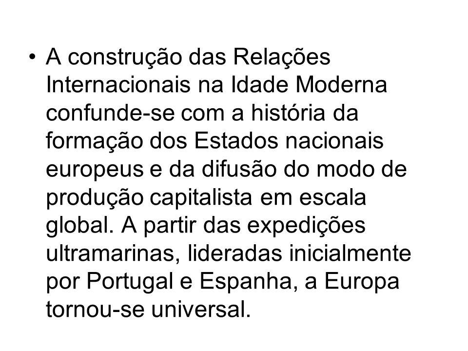A construção das Relações Internacionais na Idade Moderna confunde-se com a história da formação dos Estados nacionais europeus e da difusão do modo d
