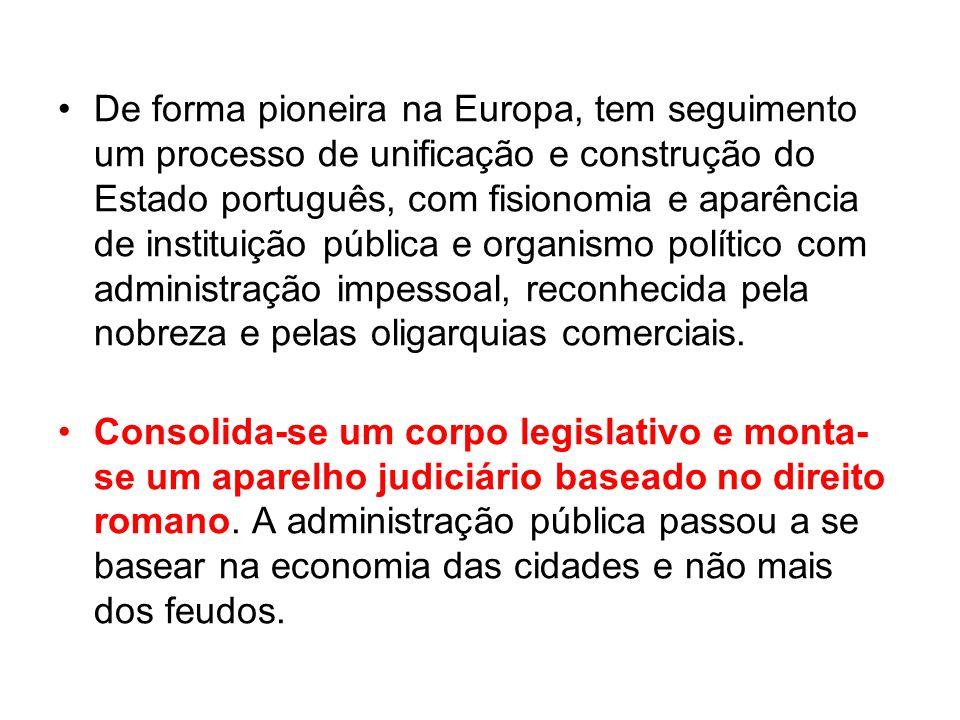De forma pioneira na Europa, tem seguimento um processo de unificação e construção do Estado português, com fisionomia e aparência de instituição públ