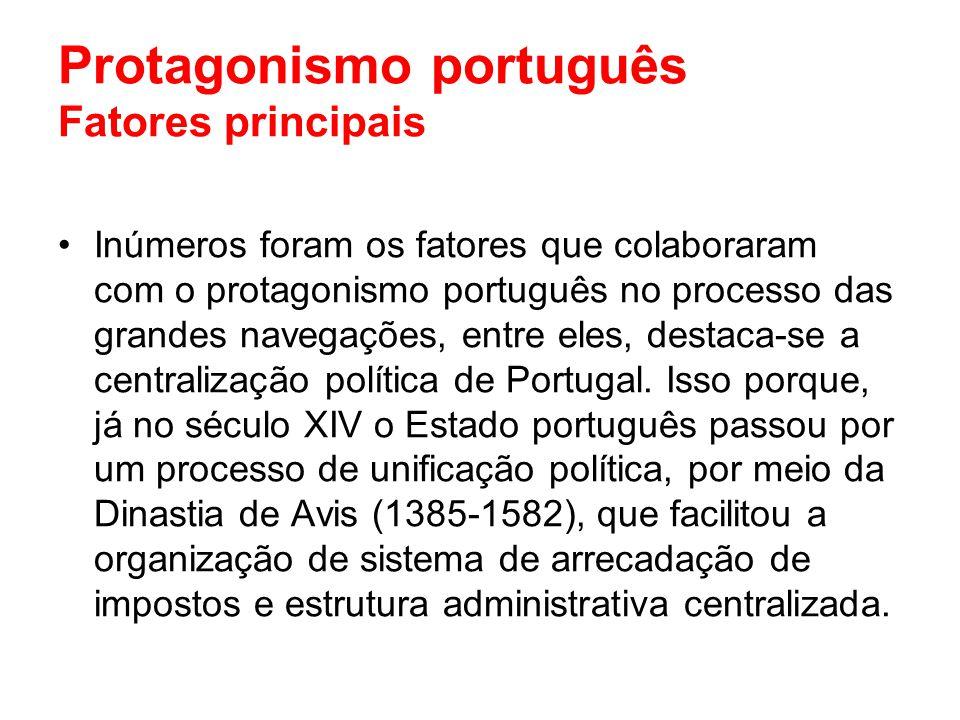 Protagonismo português Fatores principais Inúmeros foram os fatores que colaboraram com o protagonismo português no processo das grandes navegações, e