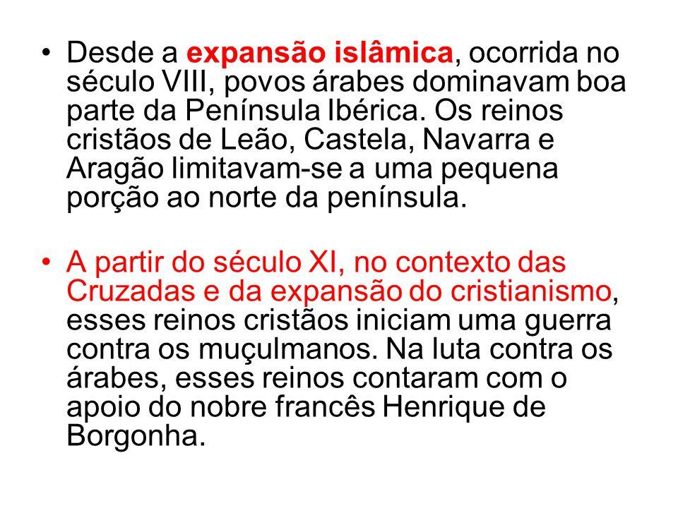Desde a expansão islâmica, ocorrida no século VIII, povos árabes dominavam boa parte da Península Ibérica. Os reinos cristãos de Leão, Castela, Navarr