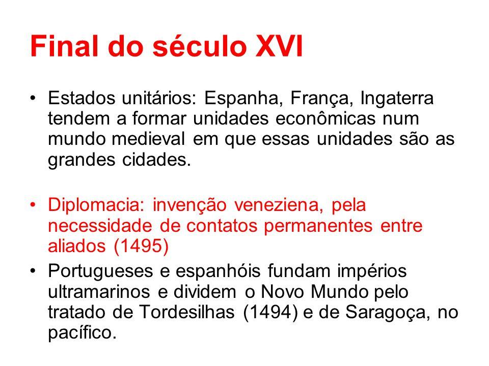 Final do século XVI Estados unitários: Espanha, França, Ingaterra tendem a formar unidades econômicas num mundo medieval em que essas unidades são as