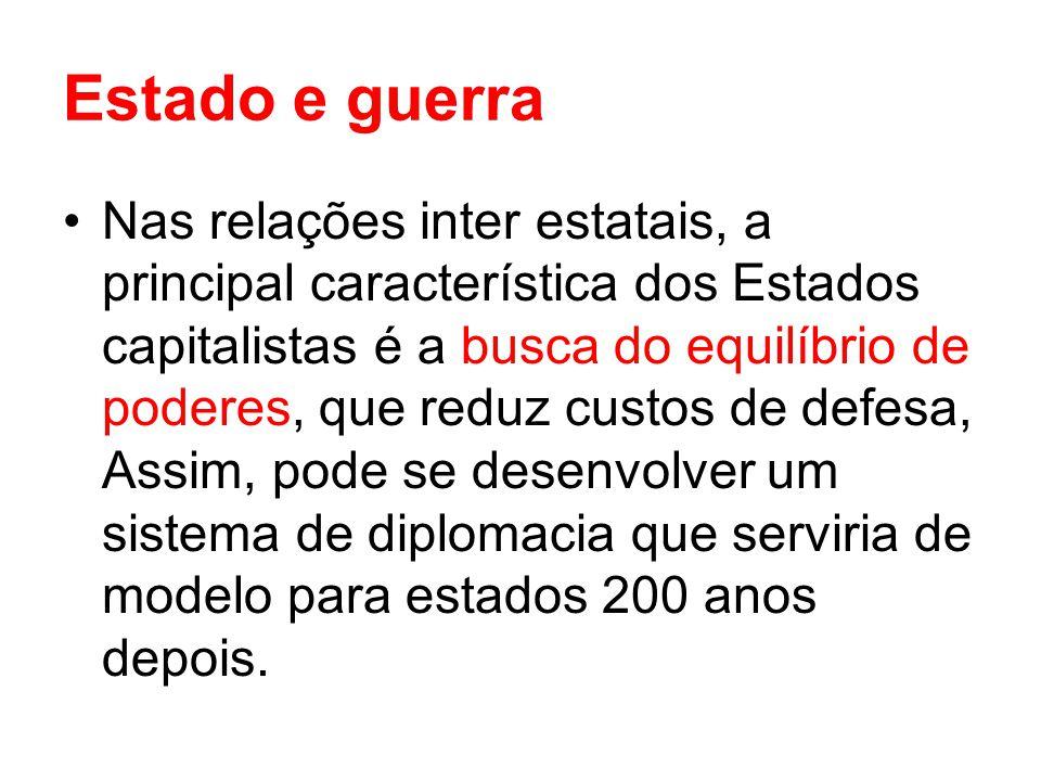 Estado e guerra Nas relações inter estatais, a principal característica dos Estados capitalistas é a busca do equilíbrio de poderes, que reduz custos