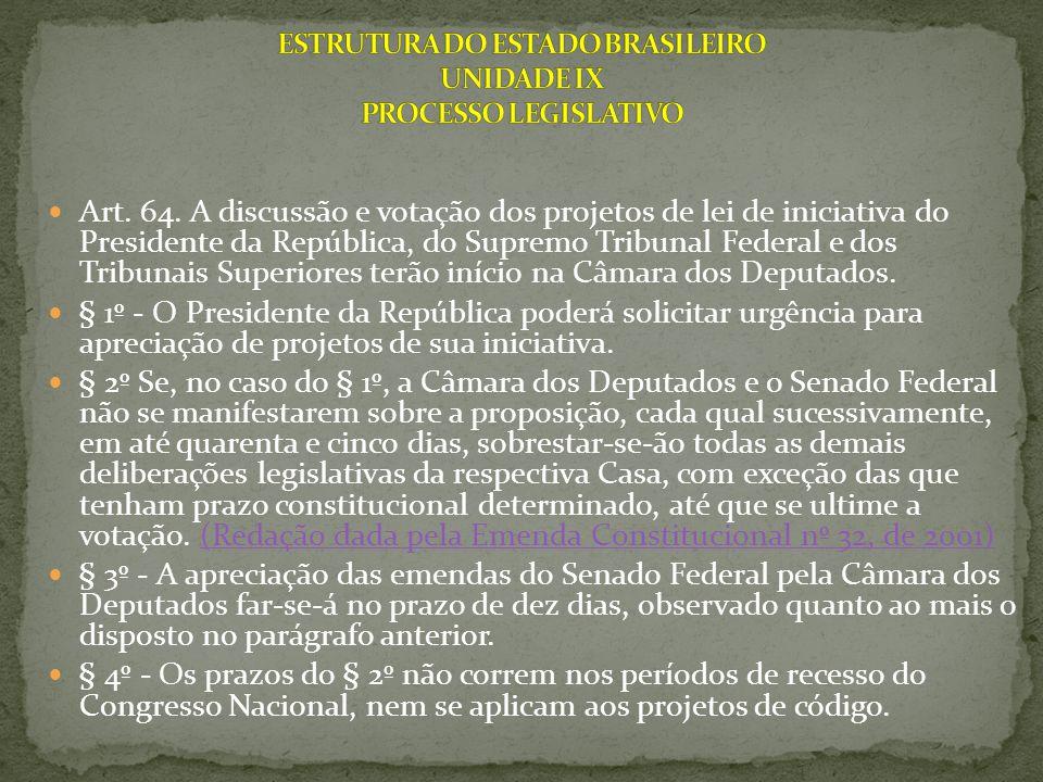 Art. 64. A discussão e votação dos projetos de lei de iniciativa do Presidente da República, do Supremo Tribunal Federal e dos Tribunais Superiores te