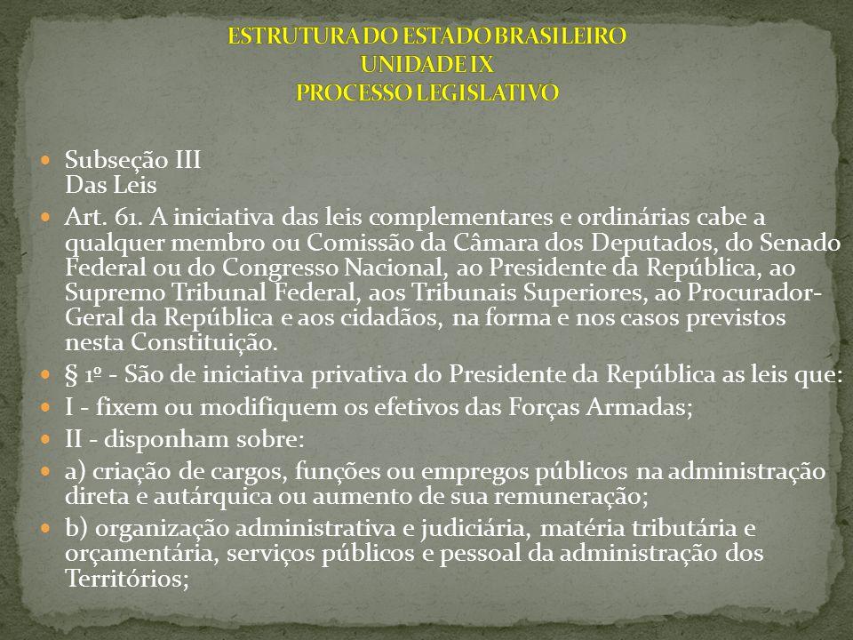 Subseção III Das Leis Art. 61. A iniciativa das leis complementares e ordinárias cabe a qualquer membro ou Comissão da Câmara dos Deputados, do Senado