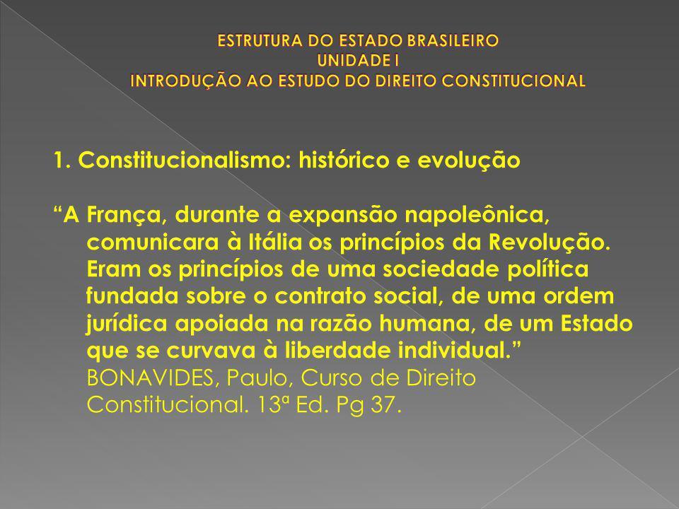 """1. Constitucionalismo: histórico e evolução """"A França, durante a expansão napoleônica, comunicara à Itália os princípios da Revolução. Eram os princíp"""