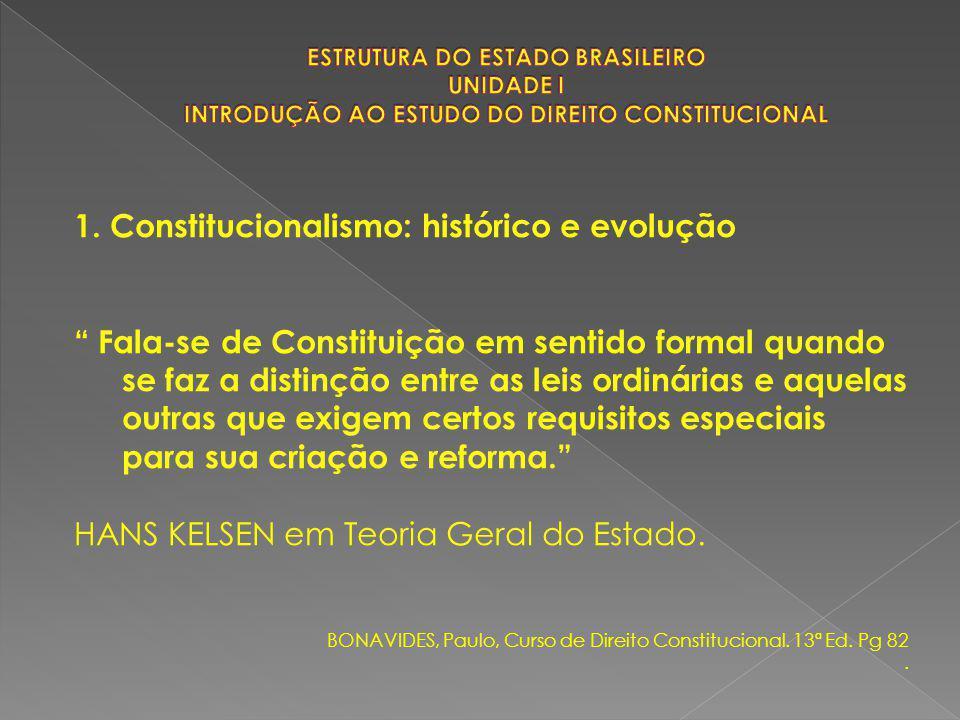 """1. Constitucionalismo: histórico e evolução """" Fala-se de Constituição em sentido formal quando se faz a distinção entre as leis ordinárias e aquelas o"""