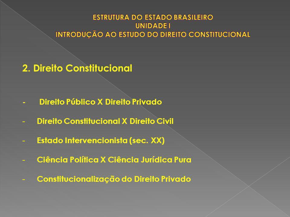 2. Direito Constitucional - Direito Público X Direito Privado - Direito Constitucional X Direito Civil - Estado Intervencionista (sec. XX) - Ciência P