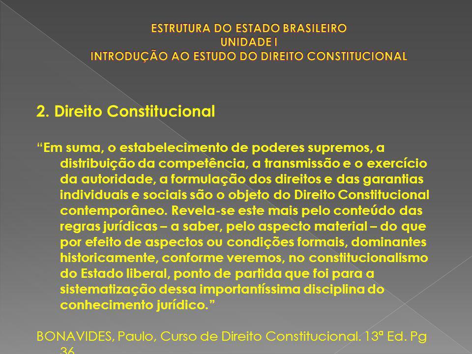 """2. Direito Constitucional """" Em suma, o estabelecimento de poderes supremos, a distribuição da competência, a transmissão e o exercício da autoridade,"""