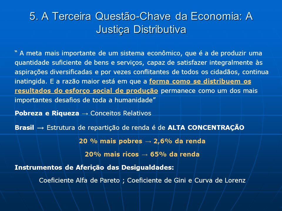 """5. A Terceira Questão-Chave da Economia: A Justiça Distributiva """" A meta mais importante de um sistema econômico, que é a de produzir uma quantidade s"""