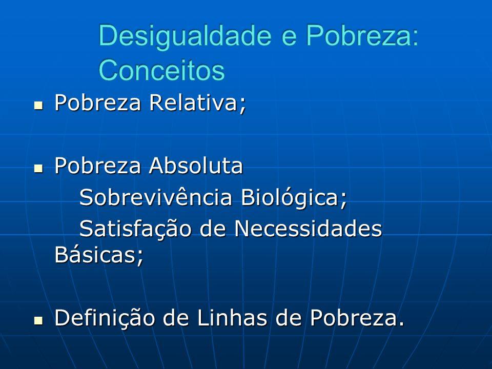 Pobreza Relativa; Pobreza Relativa; Pobreza Absoluta Pobreza Absoluta Sobrevivência Biológica; Satisfação de Necessidades Básicas; Definição de Linhas