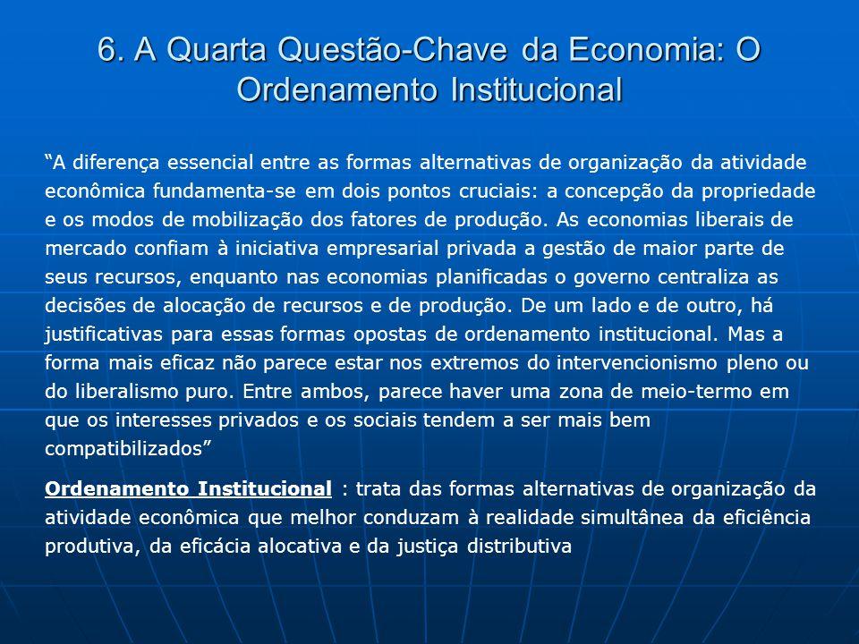 """6. A Quarta Questão-Chave da Economia: O Ordenamento Institucional """"A diferença essencial entre as formas alternativas de organização da atividade eco"""