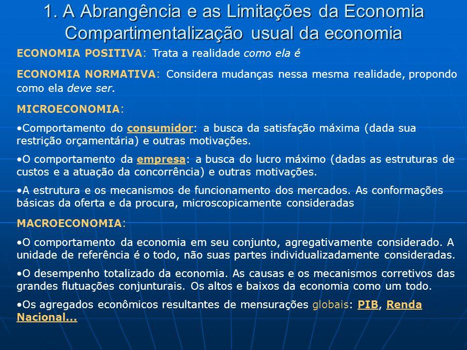 1. A Abrangência e as Limitações da Economia Compartimentalização usual da economia ECONOMIA POSITIVA : Trata a realidade como ela é ECONOMIA NORMATIV
