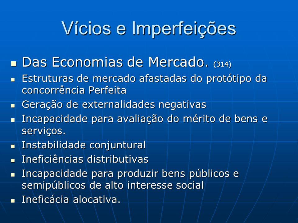 Vícios e Imperfeições Das Economias de Mercado. (314) Das Economias de Mercado. (314) Estruturas de mercado afastadas do protótipo da concorrência Per