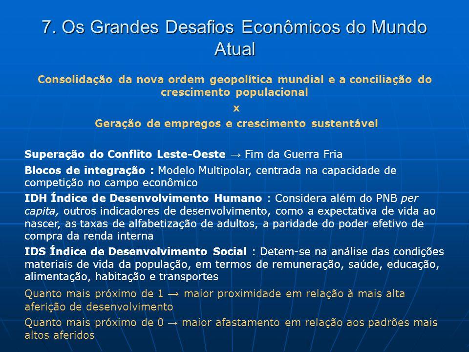 7. Os Grandes Desafios Econômicos do Mundo Atual Consolidação da nova ordem geopolítica mundial e a conciliação do crescimento populacional x Geração