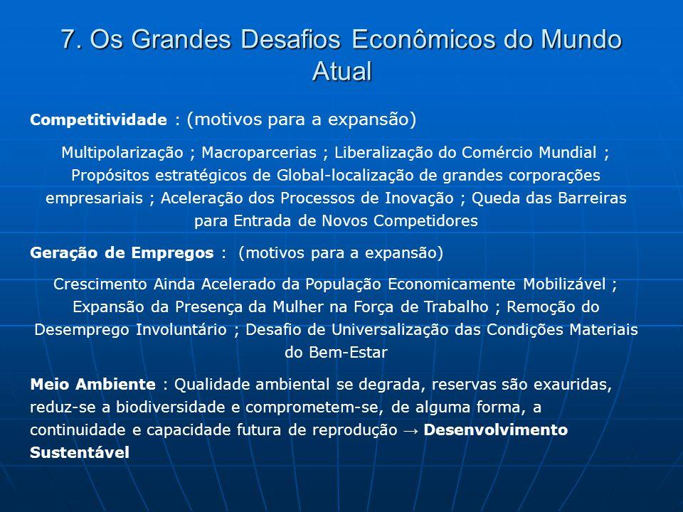 7. Os Grandes Desafios Econômicos do Mundo Atual Competitividade : (motivos para a expansão) Multipolarização ; Macroparcerias ; Liberalização do Comé