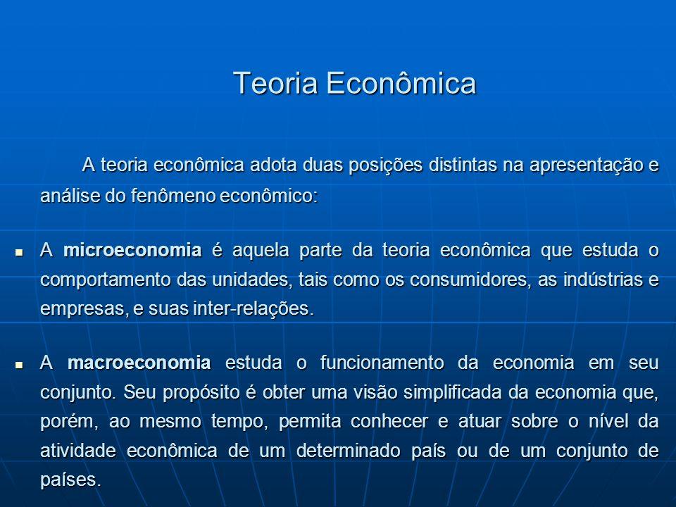 Teoria Econômica A teoria econômica adota duas posições distintas na apresentação e análise do fenômeno econômico: A microeconomia é aquela parte da t