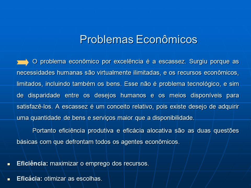 Problemas Econômicos O problema econômico por excelência é a escassez. Surgiu porque as necessidades humanas são virtualmente ilimitadas, e os recurso