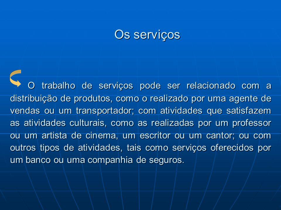 Os serviços O trabalho de serviços pode ser relacionado com a distribuição de produtos, como o realizado por uma agente de vendas ou um transportador;