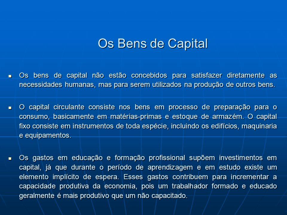 Os Bens de Capital Os bens de capital não estão concebidos para satisfazer diretamente as necessidades humanas, mas para serem utilizados na produção