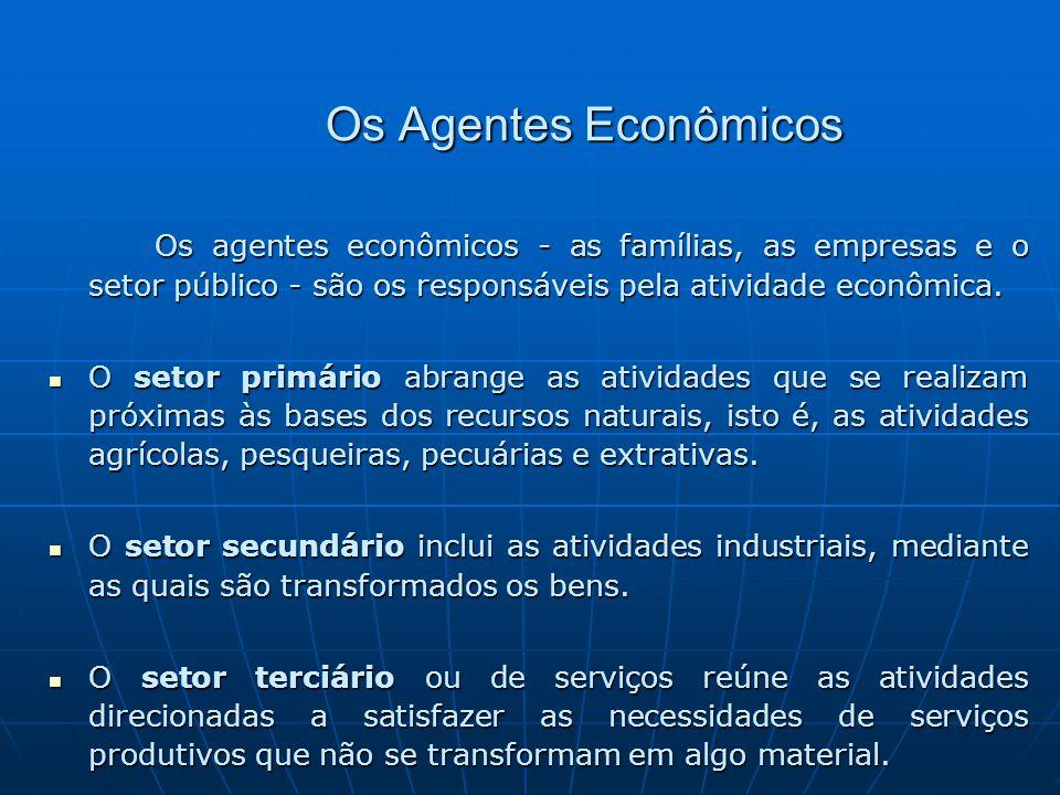 Os Agentes Econômicos Os agentes econômicos - as famílias, as empresas e o setor público - são os responsáveis pela atividade econômica. O setor primá